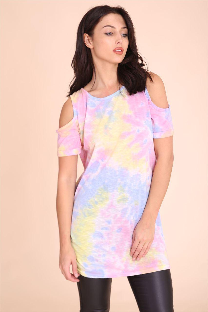 Womens wholesale tie dye print cut out shoulder top for Celebrity t shirts wholesale