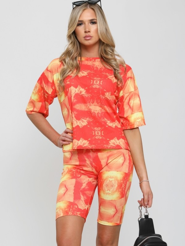 Ribbed Tie Dye Top & Shorts Co-ord