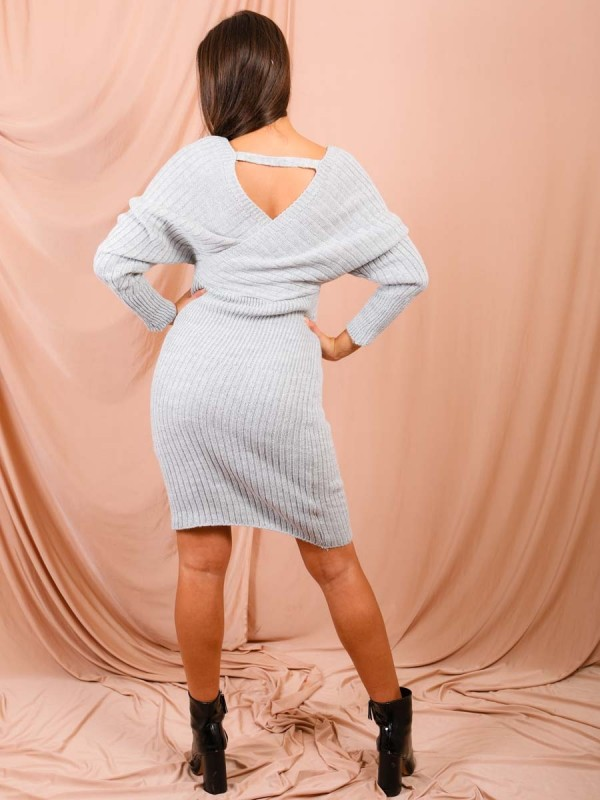 Wrap Front & Back Knitted Midi Dress