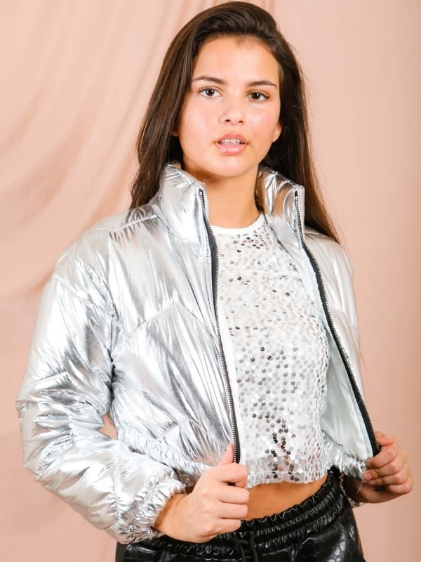 Shiny Wet Look Cropped Puffer Jacket