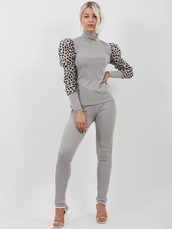 Leopard Print Organza Sleeve Ribbed Co-ord