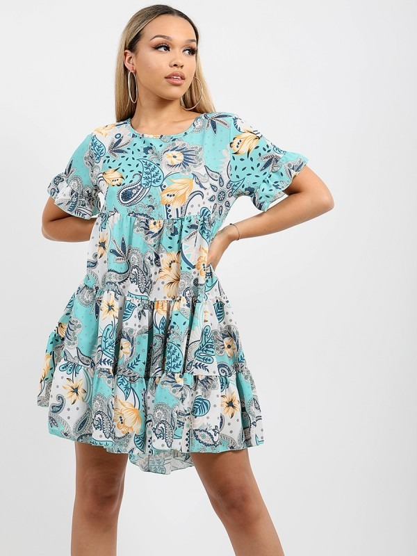 Paisley Print Frill Tiered Smock Dress