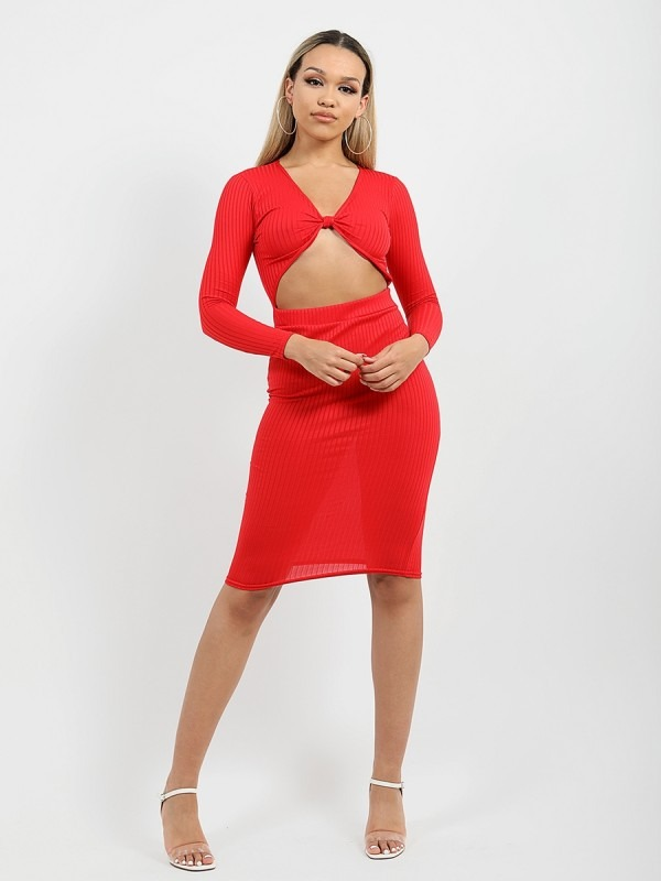 Cut Out Knot Front Ribbed Dress