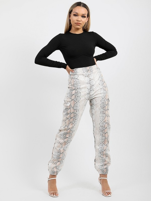 Snake Print PU Cargo Trousers