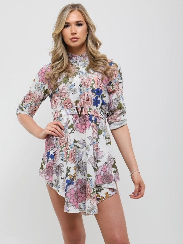 V-Buckle Floral Print Mini Dress
