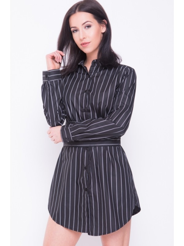 Corset Belt Detail Stripe Shirt Dress