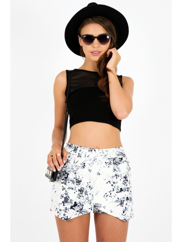 Monochrome Floral Abstract Print Skort Shorts