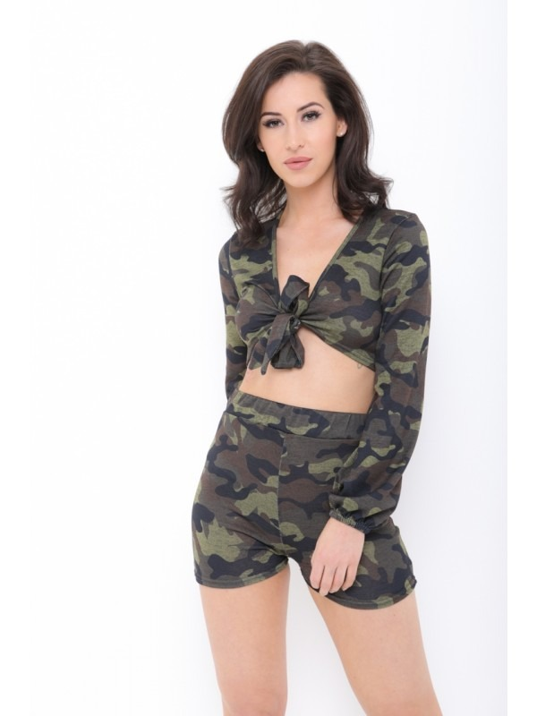 Camouflage Tie Crop Top And Shorts Co-ord