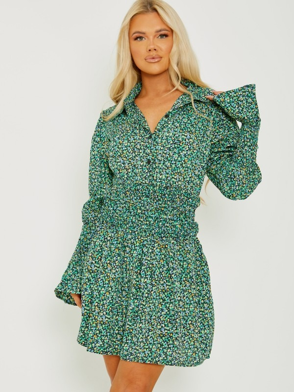 Ditsy Floral Shirred Shirt Style Dress