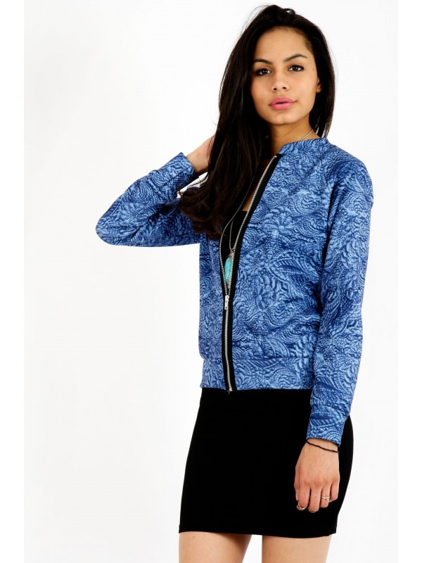 Floral Graphic Print Bomber Jacket