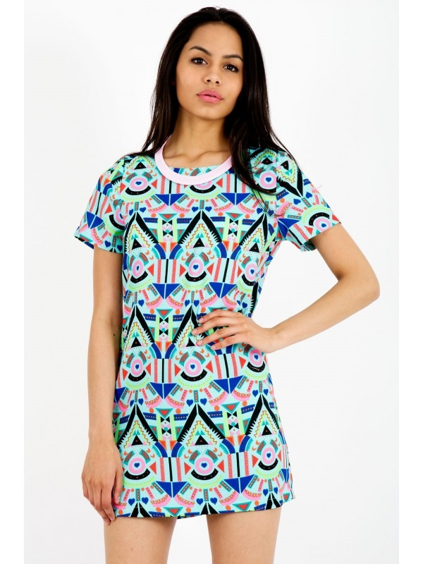 Tribal Aztec Print Shift Dress