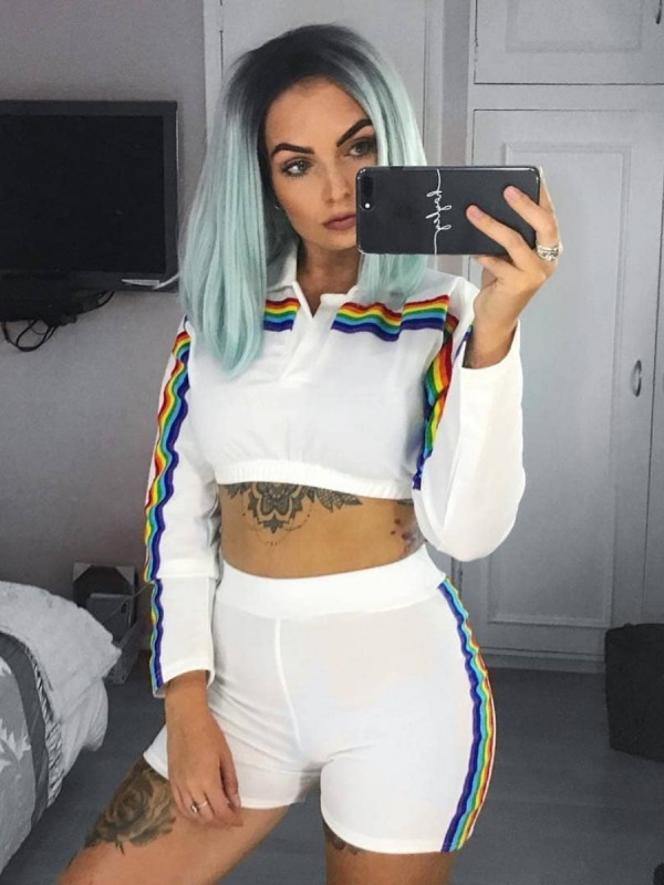Rainbow Stripe Crop Top And Shorts Co-ord
