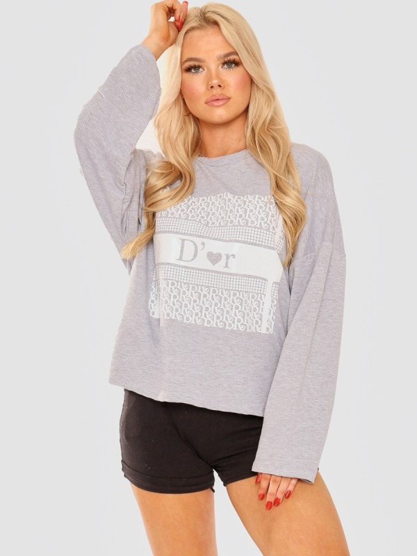Tie Knot Back D'or Graphic Oversized Top