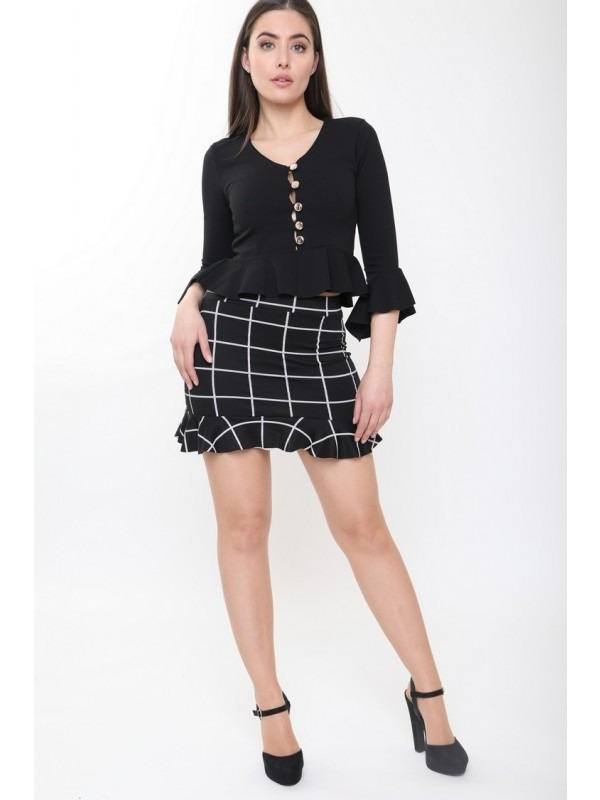 Grid Check Frill Hem Mini Skirt