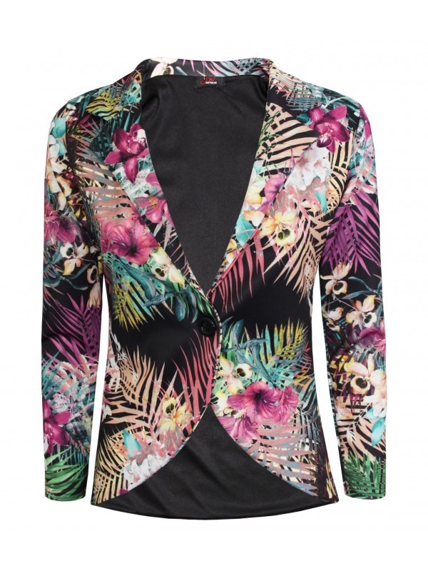 Multi Colour Floral Print One Button Blazer