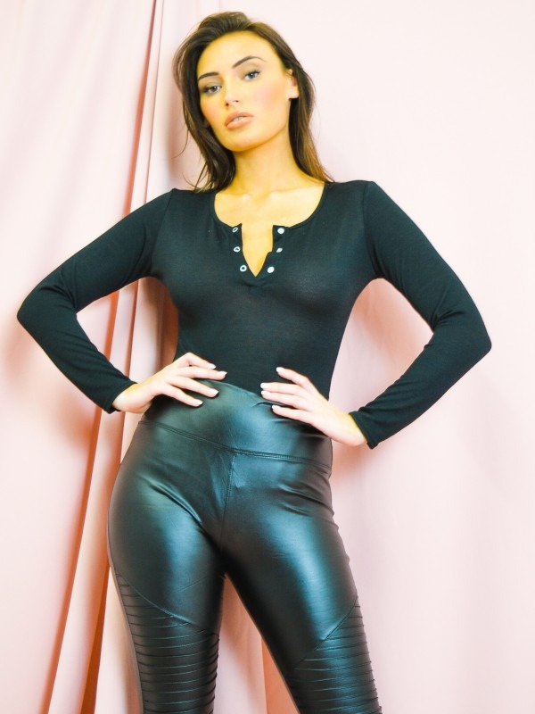 Popper Button Front Ribbed Bodysuit