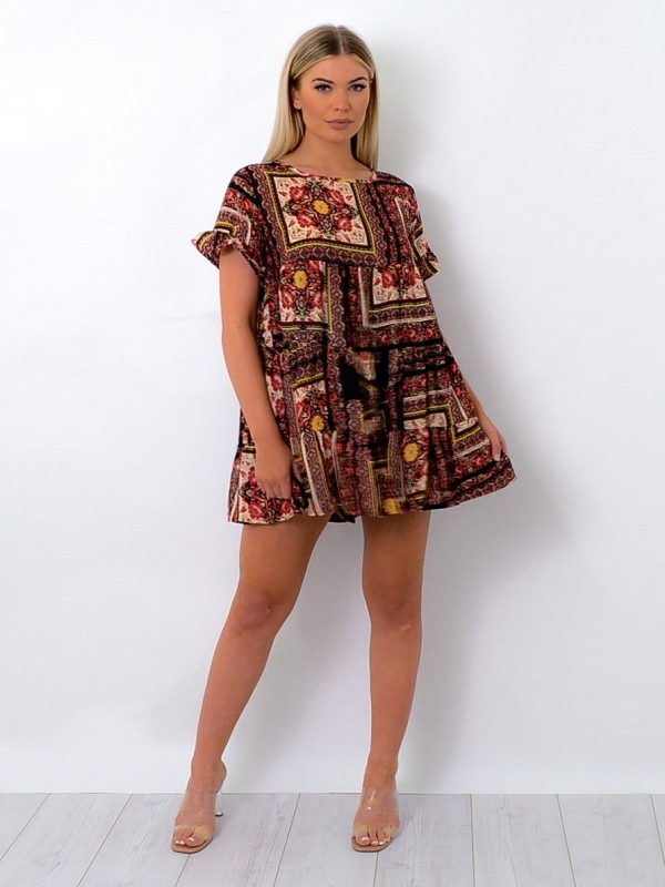 Floral Box Print Frill Tiered Smock Dress