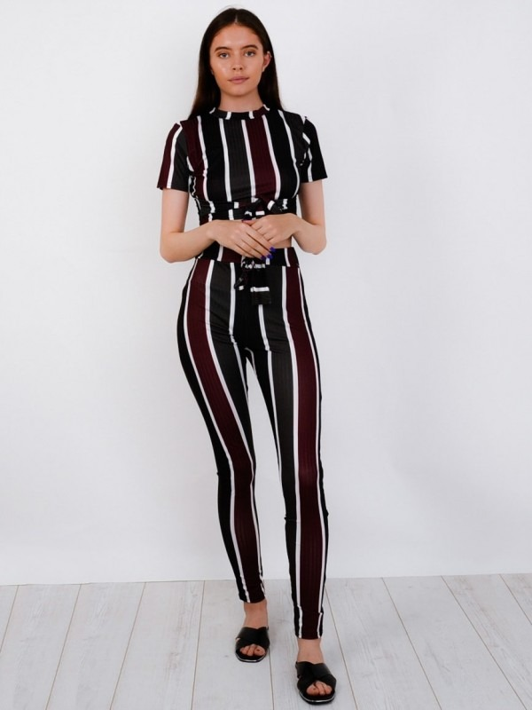 Multi Striped Ribbed Crop Top & Trouser Co-ord
