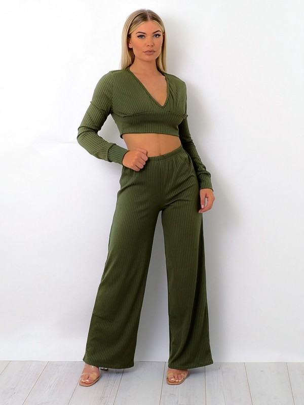 Ribbed Plunge Neck Co-ord