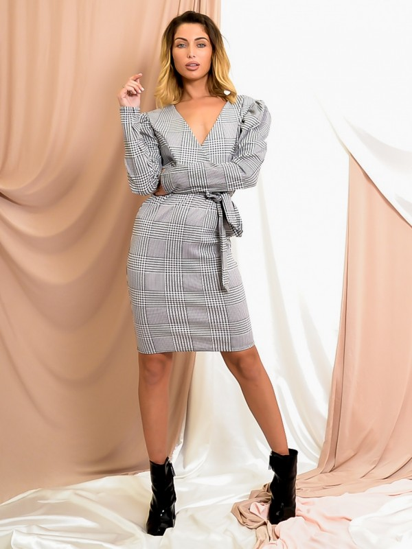 Gingham Check Wrap Front Belted Dress