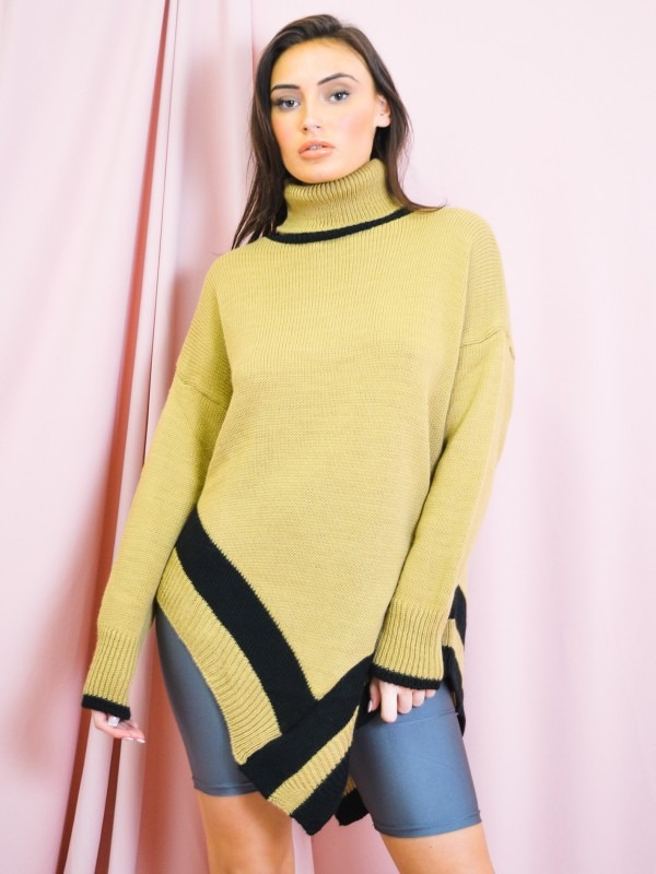 Contrast Panel Poncho Style Knitted Jumper