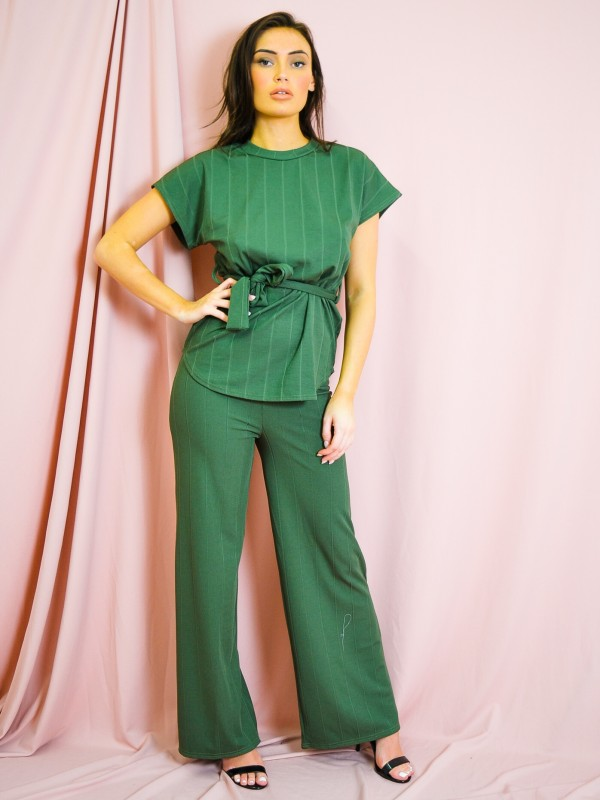 Ribbed Belted Top & Trouser Co-ord