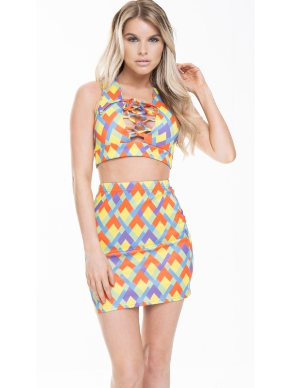 Multi Coloured Print Crop Top And Skirt Co-ord