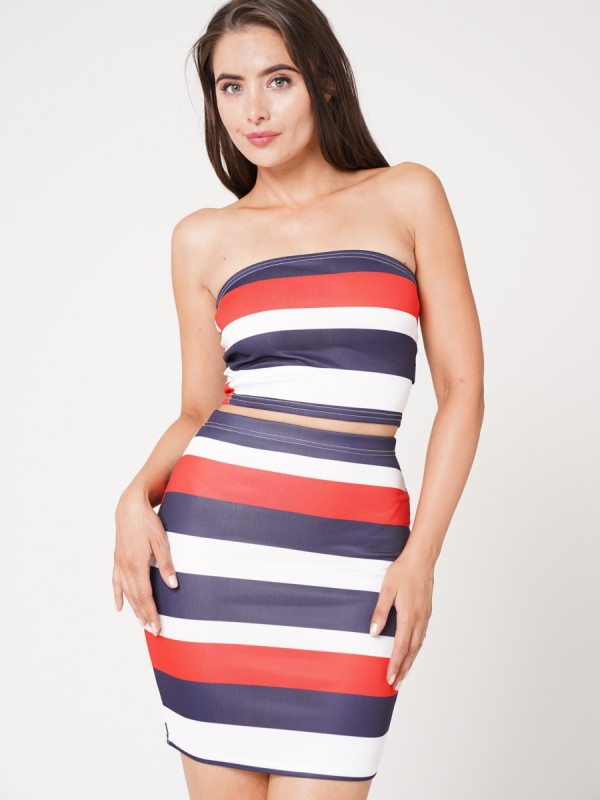 Striped Crop Top And Skirt Co-ord