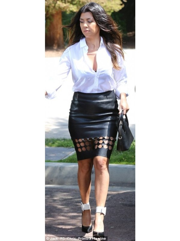 Celebrity Inspired Leatherette Cut Out Midi Skirt