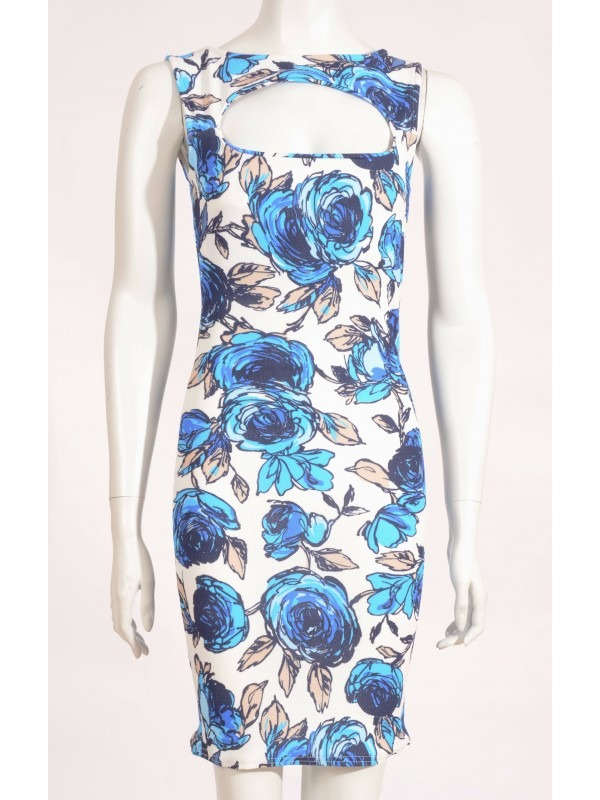 Celebrity Amy Inspired Floral Cut Out Bodycon Dress