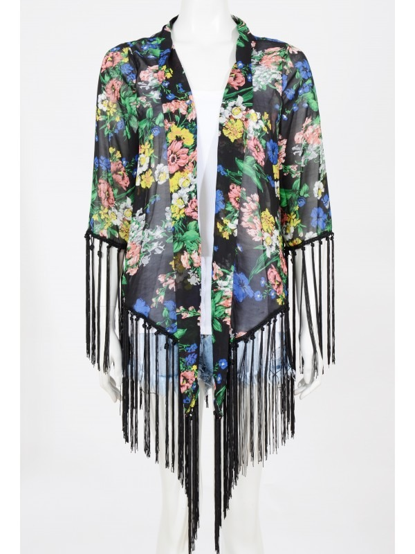 Floral Print Chiffon Tassel Fringe Detail Kimono