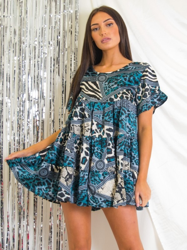 Mixed Print Frill Tiered Satin Smock Dress