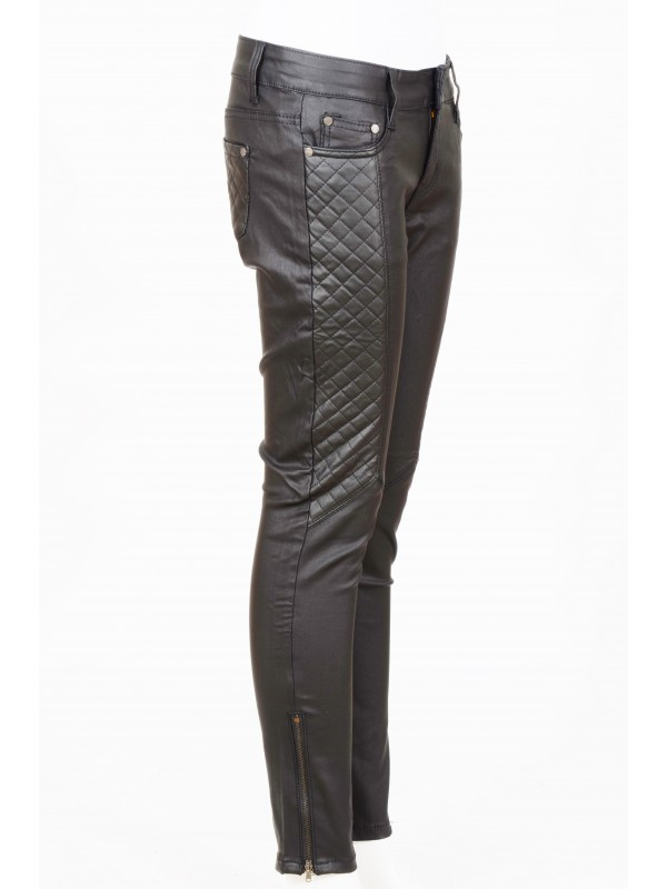 Faux Leather PU Quilted Skinny Trousers
