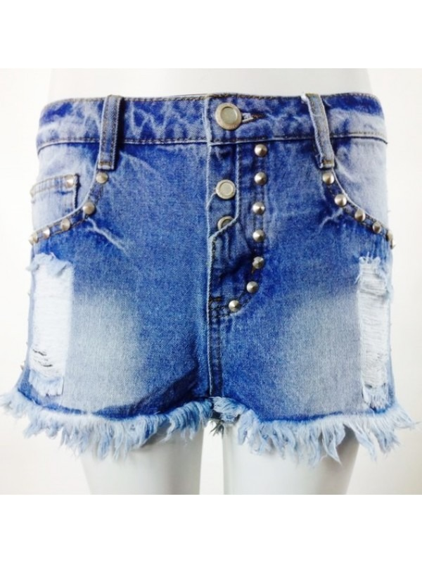 Distressed Denim Studded Hot Pants