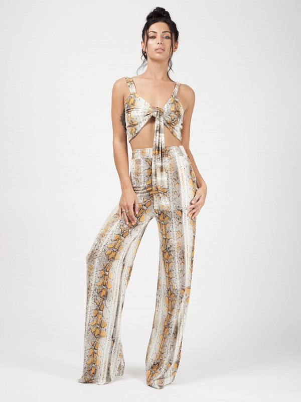 Snake Print Bralet And Trouser Co-ord