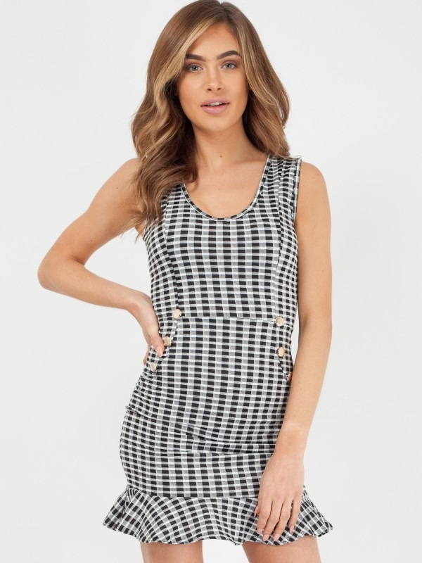 Button Front Frill Hem Check Dress