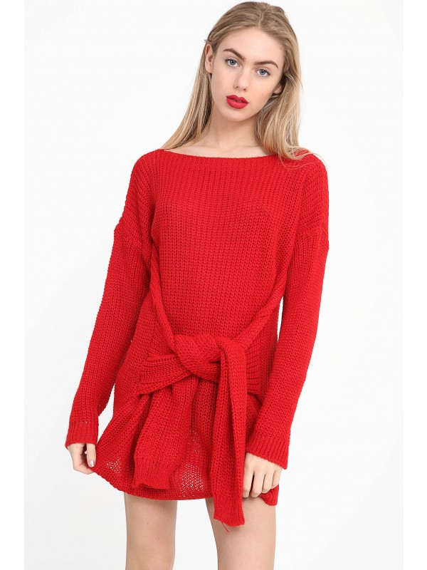 Sleeve Knot Front Knitted Jumper Dress