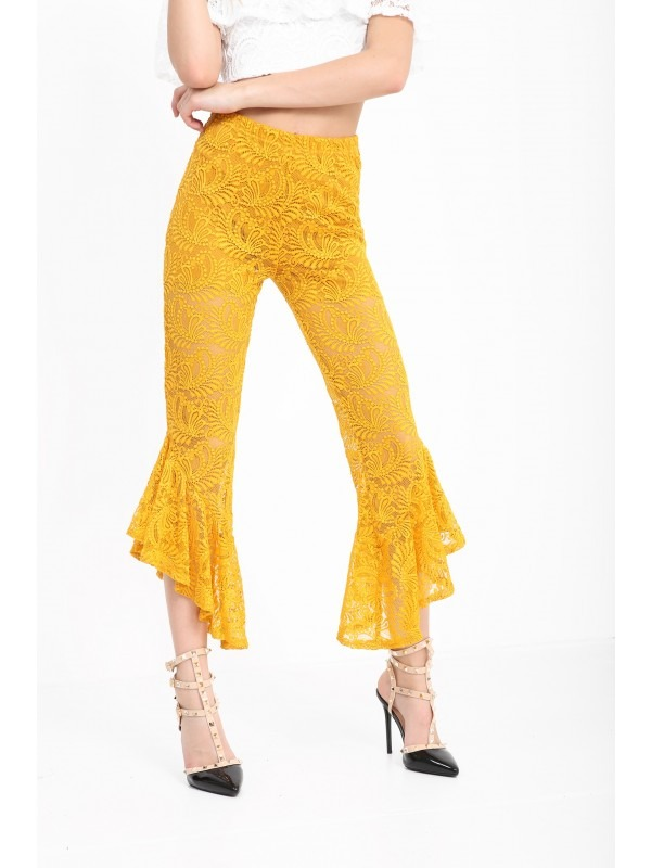 Frill Hem Lace Cropped Trousers