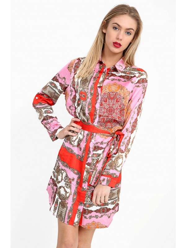 Patterned Print Satin Shirt Dress