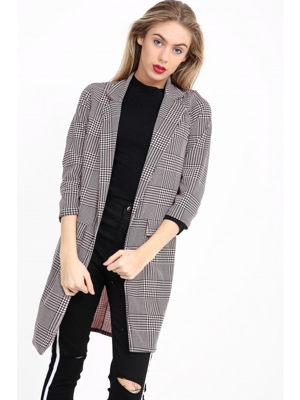 Multi Check Houndstooth Duster Coat