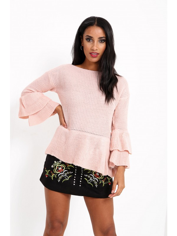 Ruffle Sleeve Knitted Peplum Jumper