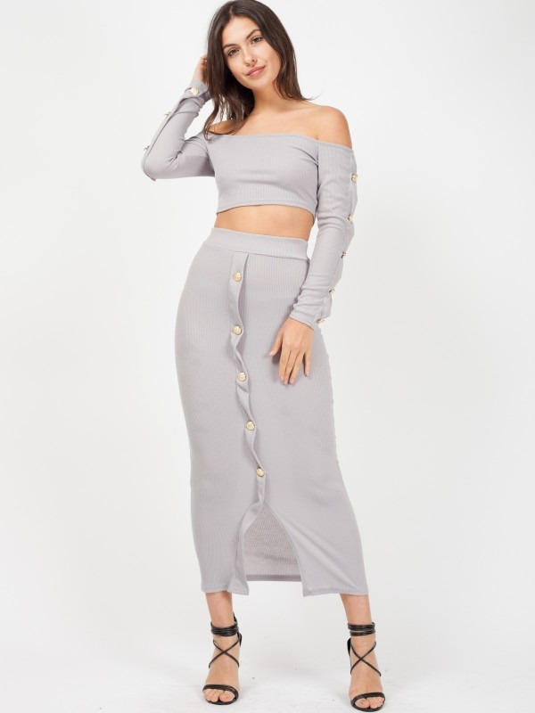 Button Trim Ribbed Crop Top & Maxi Skirt Co-ord