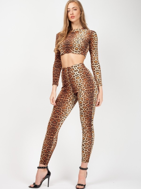 Leopard Print Velvet Crop Top & Trouser Co-ord
