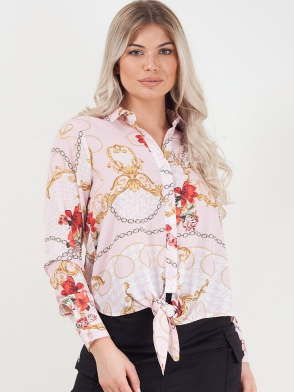 Floral Chain Print Tie Knot Shirt Top