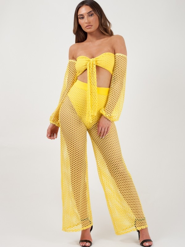 Fishnet Tie Crop Top & Trouser Co-ord