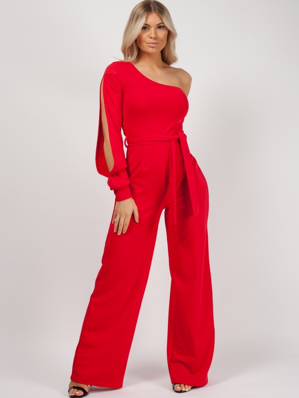 One Shoulder Split Sleeve Jumpsuit