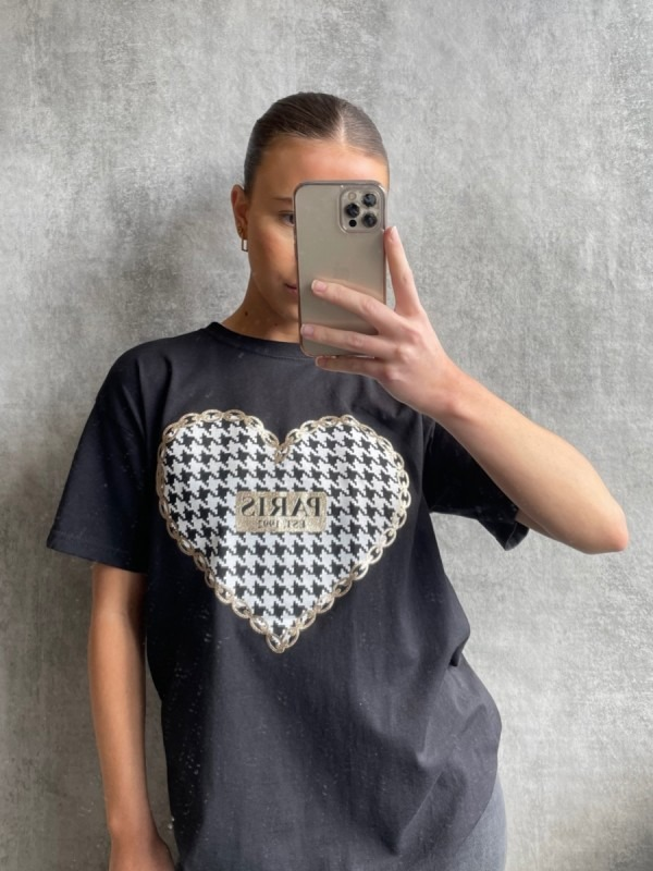 PARIS Dogtooth Heart Graphic Printed T-Shirt