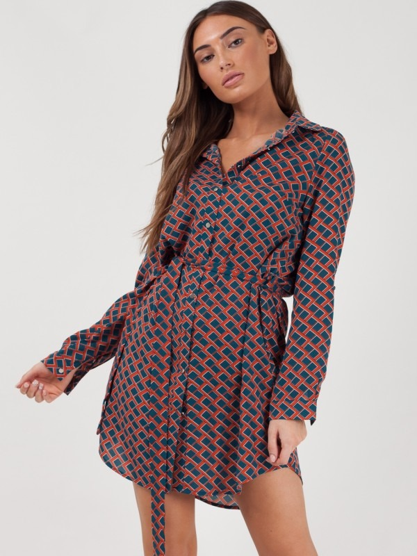 Geometric Print Tie Waist Shirt Dress