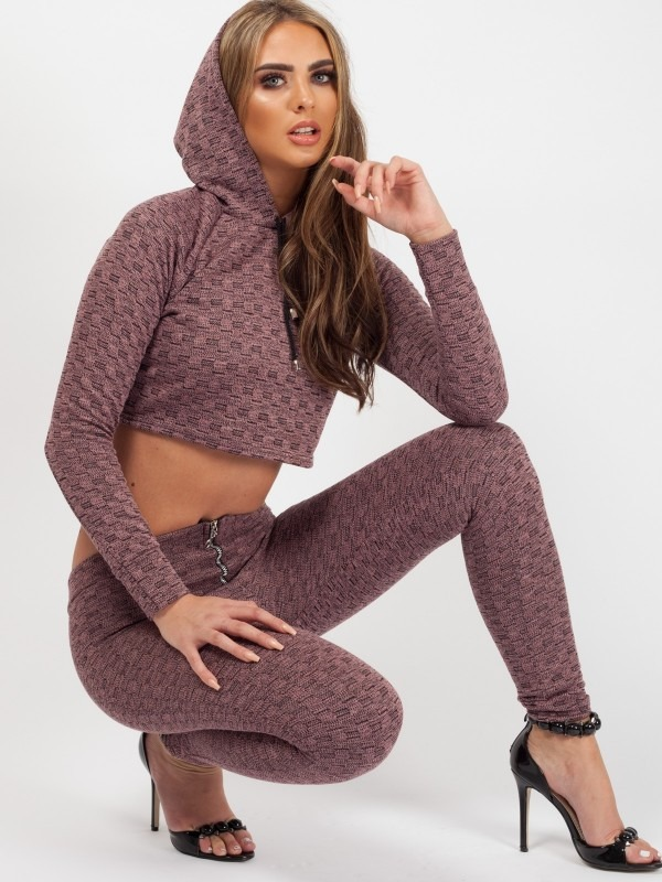 Olivia & Kady Woven Knit Crop Top & Trouser Co-ord