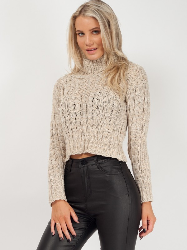 Rosie Roll Neck Cable Knit Cropped Jumper